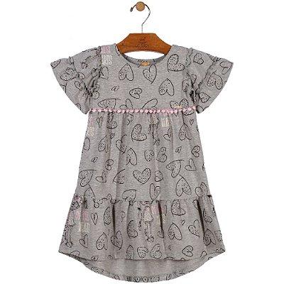 Vestido Manga Curta em Cotton Estampa Corações Cinza Up Baby