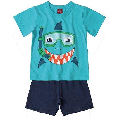 Conjunto Primeiros Passos Camiseta e Bermuda Moletinho Tubarão Azul Bee Loop