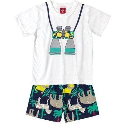 Conjunto Camiseta e Bermuda Moletinho Binóculo Safari Bee Loop