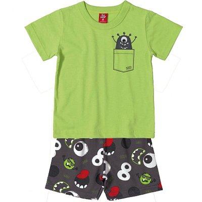 Conjunto Primeiros Passos Camiseta e Bermuda Moletinho Monstro Verde Bee Loop