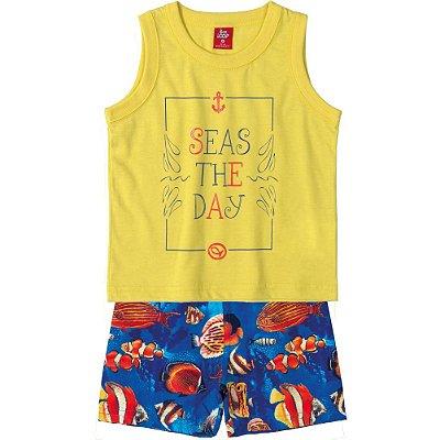 Conjunto Camiseta Regata e Bermuda Microfibra Amarela Bee Loop