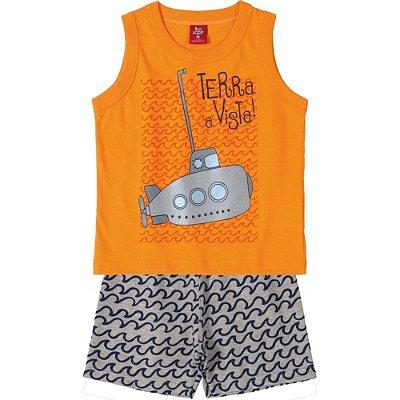 Conjunto Camiseta Regata Meia Malha e Bermuda Moletinho Submarino Laranja Bee Loop