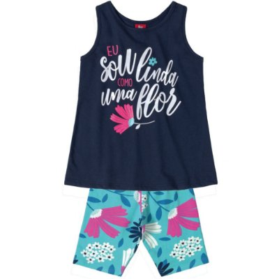 Conjunto Bata Regata Marinho e Bermuda Cotton Estampada Bee Loop