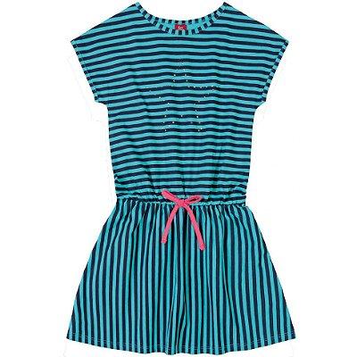 Vestido em Meia Malha Listrado Azul Bee Loop