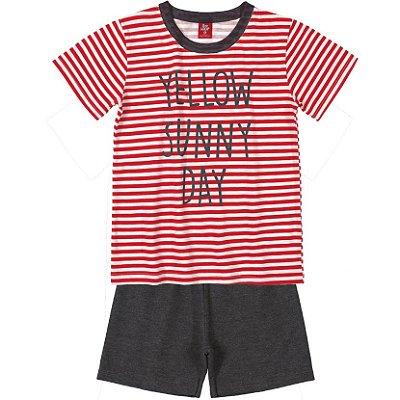 Conjunto Camiseta Listrada Vermelho e Bermuda Moletinho Bee Loop