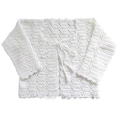 Casaco de Crochê em Linha Branco