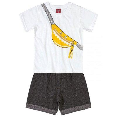 Conjunto Camiseta em Meia Malha e Bermuda em Moletinho Pochete Branco Up Baby