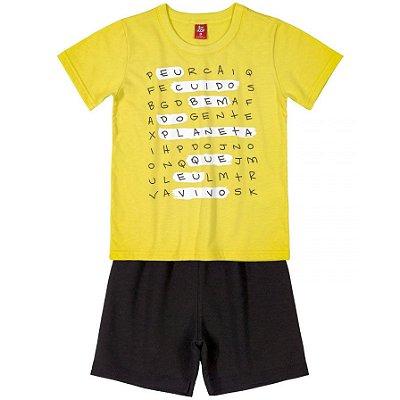 Conjunto Camiseta e Bermuda Caça-palavras Amarelo Bee Loop
