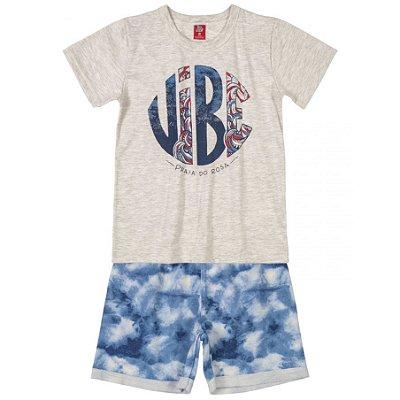 Conjunto Camiseta e Bermuda em Moletinho Vibe Cinza Bee Loop