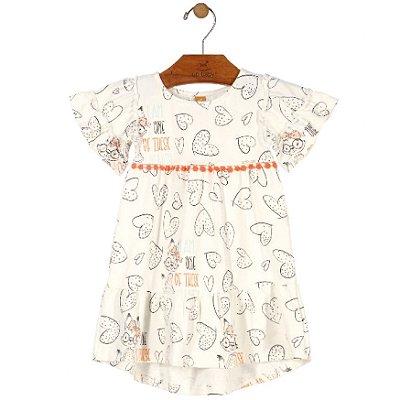 Vestido Manga Curta em Cotton Estampa Corações Creme Up Baby