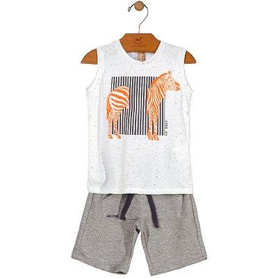 Conjunto Bebê Regata Botonê e Bermuda em Moletom Zebra Neon Branco Mescla Up Baby