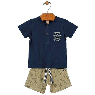 Conjunto Camiseta Gola Padre e Bermuda em Sarja Marinho Up Baby