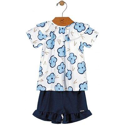Conjunto Primeiros Passos Blusa em Cotton e Shorts em Moleton Flores Azul Up Baby