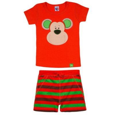 Pijama Curto Macaco Laranja Tip Top