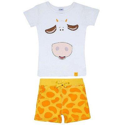 Pijama Curto Branco Girafa Tip Top