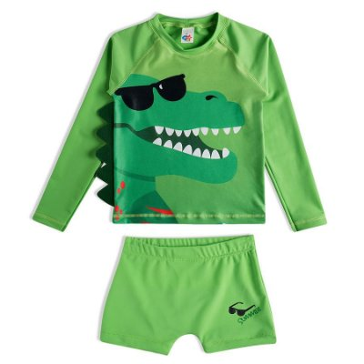 Conjunto Praia Camiseta e Shorts Dino Verde Tip Top