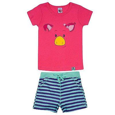Pijama Curto Porquinha Rosa TIp Top