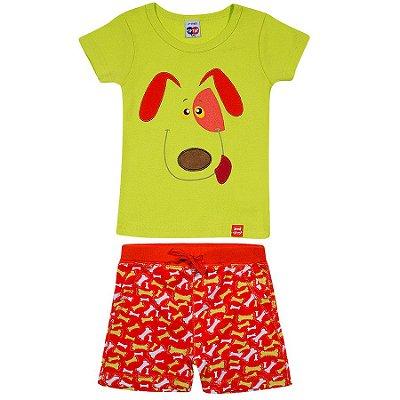 Pijama Curto Cachorro Verde TIp Top