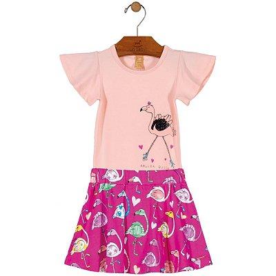 Conjunto Body e Saia Flamingos Rosa Up Baby