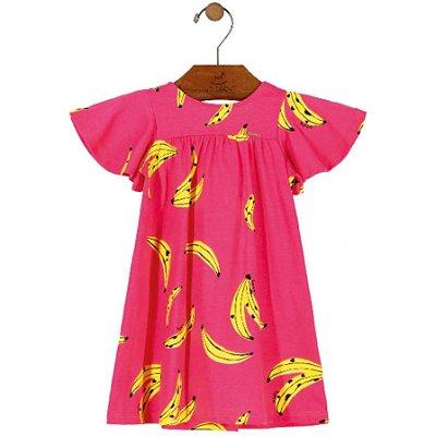 Vestido em Meia Malha Infantil Estampa Bananas Pink Up Baby