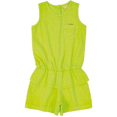Macaquinho em Tecido Sarja Neon Verde Quimby