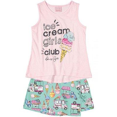Conjunto Blusa e Shorts Saia em Cotton Sorvetes Rosa Quimby