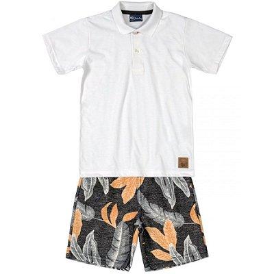 Conjunto Primeiros Passos Camiseta Polo e Bermuda em Moletinho Branca Quimby
