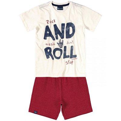 Conjunto Infantil Camiseta e Bermuda em Moletinho Rock and Roll Creme Quimby