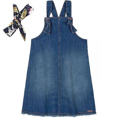 Salopete Primeiros Passos em Tecido Jeans com Faixa Quimby