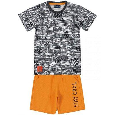 Conjunto Camiseta e Bermuda em Moletom Stay Cool Cinza Quimby