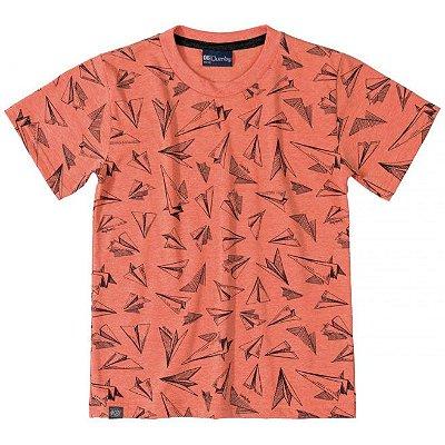Camiseta em Meia Malha Estampada Salmão Quimby