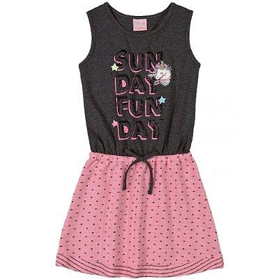 Vestido com Laço Infantil em Cotton e Moletom Rosa Quimby