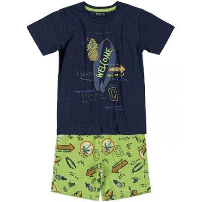 Conjunto Camiseta e Bermuda em Moletom Abacaxis Marinho Quimby