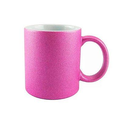 Caneca Porcelana Glitter Pink para Sublimação