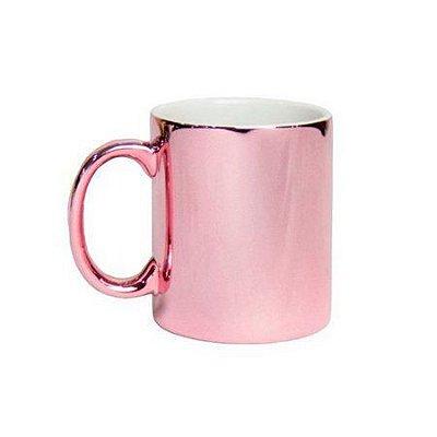 Caneca de Porcelana Espelhada Rosa para Sublimação