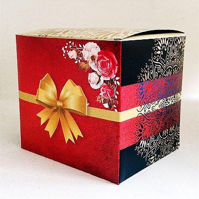 Caixa de Caneca com Laço Dourado Flor