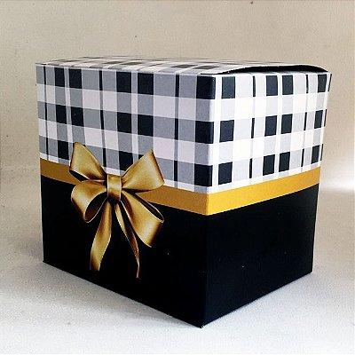 Caixa de Caneca com Laço Dourado Preta