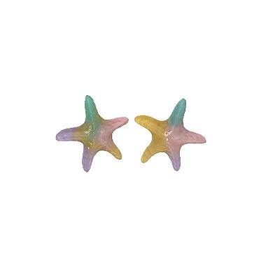 Brinco estrela Tie Dye lilás