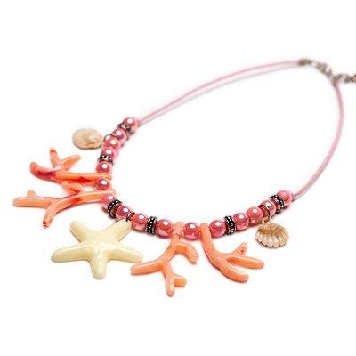 Colar Estrela e Corais rosa
