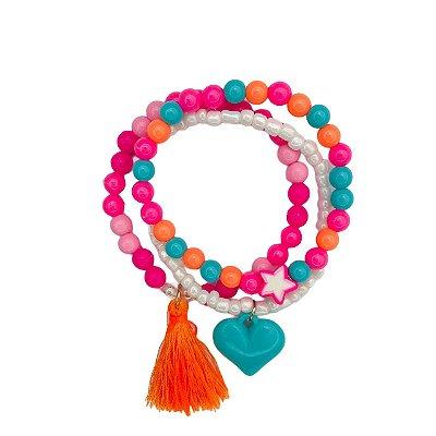 Kit Pulseira colorida coração