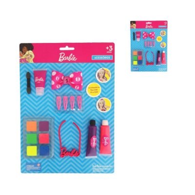 Kit Cartela Acessórios Maquiagem Boneca Barbie - 14 Peças