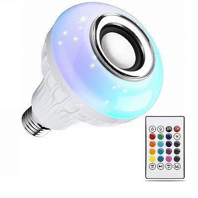 Lâmpada Bluetooth Led RGB + Som + Controle Remoto