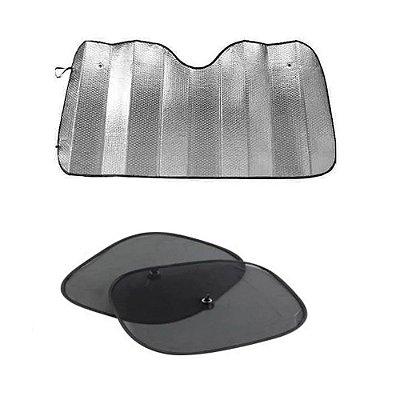 Kit 1 Protetor Solar Para-brisa e 2 Protetor Solar Lateral