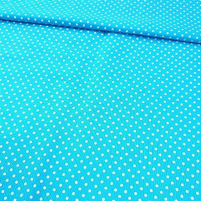 Tecido Tricoline Poá Pequeno Azul Turquesa 1380