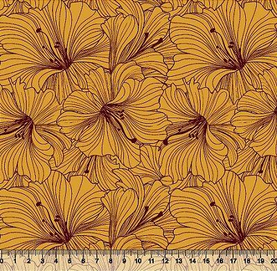 Tecido Tricoline Flor de Hibisco 3581