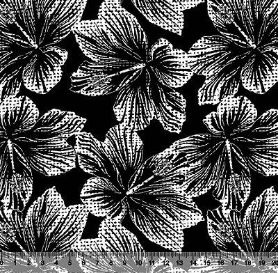Tecido Tricoline Flor de Hibisco com Poá