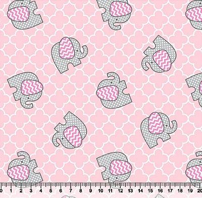Tecido Tricoline Elefantinho Chevron Rosa 3024-04