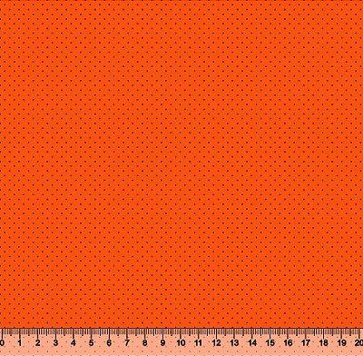 Tecido Tricoline Micro Poá Preto Fundo Laranja  3060-28