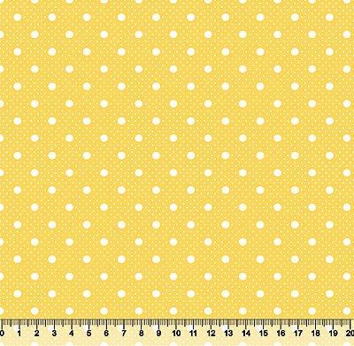 Tecido Tricoline Poá com Poá Branco com Fundo Amarelo 2259-20
