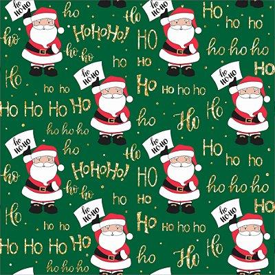 Tecido Tricoline Papai Noel Ho Ho Ho 5065 Verde - Natal